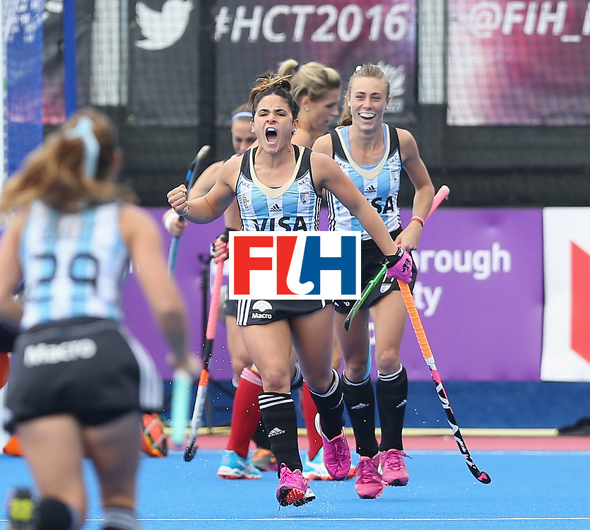 LONDON, ENGLAND - JUNE 18:  Maria Granatto of Argentina celebrates after scoring their first goal during the FIH Women's Hockey Champions Trophy match between Argentina and Great Britain at Queen Elizabeth Olympic Park on June 18, 2016 in London, England.  (Photo by Alex Morton/Getty Images)