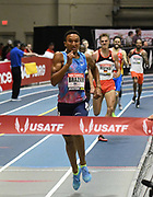 Feb 10, 2018; Boston, Massachussetts, USA; Donavan Brazier (USA) wins the 800m in 1:45.11 during the New Balance Indoor Grand Prix at Reggie Lewis Center.
