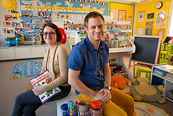Portrait of Emmanuelle Benefield, director/teacher, left, and  Brian Benefield, teacher at Ma Petite École, in Santa Rosa, California.
