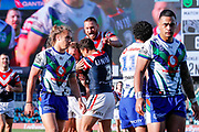 The Roosters celebrates the Mitchell Aubusson try while Warriors players look dejected. Sydney Roosters v Vodafone Warriors. NRL Rugby League. Sydney Cricket Ground, Sydney, Australia. 18th August 2019. Copyright Photo: David Neilson / www.photosport.nz
