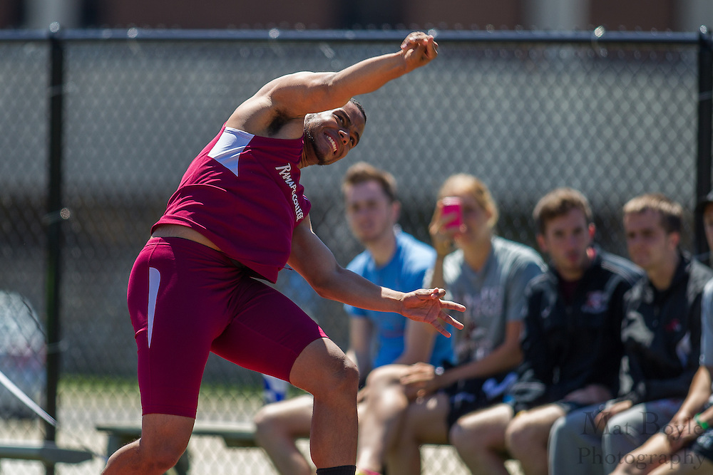 Ramapo College's Mark Monahan competes in the men's javelin  at the NJAC Track and Field Championships at Richard Wacker Stadium on the campus of  Rowan University  in Glassboro, NJ on Sunday May 5, 2013. (photo / Mat Boyle)