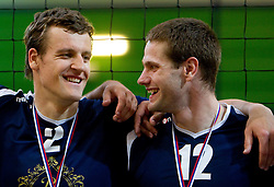 Jernej Potocnik and Jernej Stavbar of Kropa after the volleyball match between ACH Volley Bled and UKO Kropa at final of Slovenian National Championships 2011, on April 27, 2011 in Arena SGTS Radovljica, Slovenia. ACH Volley defeated Kropa 3-0 and became Slovenian National Champion 2011. (Photo By Vid Ponikvar / Sportida.com)