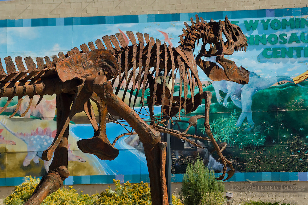Metal dinosaur skeleton statue, downtown Thermopolis, Hot Springs County, Wyoming
