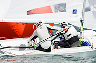 Miami, USA, February 1, 2014 - Croatia finished 4th at the ISAF Sailing World Cup in Miami.  The event is part of the qualifying circuit for Olympic hopefuls.  The 470 is the two-person dinghy that will be raced in the 2016 Olympics in Rio de Janeiro.  Pictured here:  rounding the mark.
