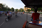 Phnom Penh, Cambodia. Evening rush hour seen from aboard a Tuk Tuk.
