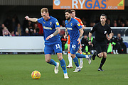 AFC Wimbledon midfielder Mitchell (Mitch) Pinnock (11) shaping up to take a shot during the EFL Sky Bet League 1 match between AFC Wimbledon and Blackpool at the Cherry Red Records Stadium, Kingston, England on 29 December 2018.