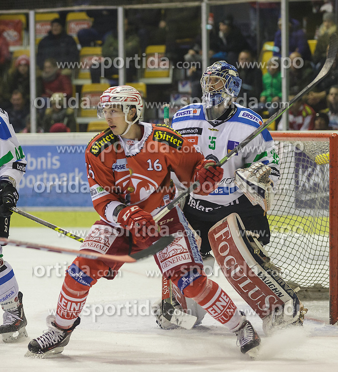 06.12.2015, Stadthalle, Klagenfurt, AUT, EBEL, EC KAC vs HDD TELEMACH Olimpija Ljubljana, 28. Runde, im Bild Patrick Harand (EC KAC, 16), Oliver Roy (HDD TELEMACH Olimpija Ljubljana, #35) // during the Erste Bank Eishockey League 28th round match match betweeen EC KAC and HDD TELEMACH Olimpija Ljubljana at the City Hall in Klagenfurt, Austria on 2015/12/06. EXPA Pictures © 2015, PhotoCredit: EXPA/ Gert Steinthaler