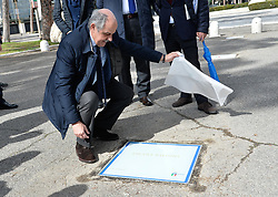 March 12, 2018 - Rome, Italy - The ceremony Walk of Fame in Rome, Italy, on 12 March 2018. The Walk of Fame is enriched with 5 more samples. Along the Via Olimpiadi, which leads straight to the Olympic stadium in Rome, new plates have been added dedicated to five blue champions no longer in business: the historic Milan captain and national defender, soccer player Paolo Maldini, the swimmer Massimiliano Rosolino, the middle distance runner Luigi Beccali, the cyclist Ercole Baldini (in picture) and the volleyball player Samuele Papi. (Credit Image: © Silvia Lore/NurPhoto via ZUMA Press)