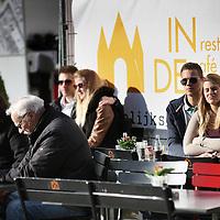 Nederland, Amsterdam , 5 maart 2014. <br /> De lente is zo goed als begonnen. terrasweer zoals hier op Nieuwmarkt bij cafe de Waag.<br /> Foto:Jean-Pierre Jans