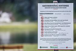 THEMENBILD - ein Schild mit Verhaltensregel am Naturdenkmal Hintersee in den Sprachen Deutsch, Englisch und Arabisch. Der Hintersee ist ein kleiner Gebirgssee in 1313 m Höhe im Talschluss des Felbertals in Mittersill. Der Bergsee ist ein Naturdenkmal und wurde unter Schutz gestellt. Der Hintersee gilt als Geheimtipp, Erholungsgebiet und ein Platz, den man gesehen haben muss, aufgenommen am 23. Juni 2019, am Hintersee in Mittersill, Österreich // a sign with a rule of conduct at the natural monument Hintersee in German, English and Arabic. Hintersee is a small mountain lake 1313 m above sea level at the end of the Felbertal valley in Mittersill. The mountain lake is a natural monument and was placed under protection. The Hintersee is an insider tip, a place you must have seen and a recreation area on 2019/06/23, Hintersee in Mittersill, Austria. EXPA Pictures © 2019, PhotoCredit: EXPA/ Stefanie Oberhauser