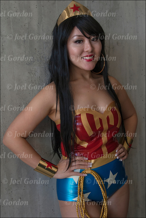 Asian cosplay attendee in her Wonder Woman costume.<br />