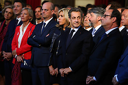 Brigitte Macron with French presidents Francois Hollande and Nicolas Sarkozy at the welcoming ceremony to celebrate Paris' coronation as host of the 2024 Olympics Games at the Elysee Palace in Paris on September 15, 2017, after the Paris 2024 delegation returned from the International Olympic Committee (IOC) meeting in Lima. Photo by Hamilton/Pool/ABACAPRESS.COM