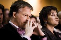 Nederland. Amsterdam, 6 oktober 2007.<br /> PvdA Congres in de RAI. Partijleider Wouter Bos en partijvoorzitter Lilianne Ploumen.<br /> Foto Martijn Beekman <br /> NIET VOOR TROUW, AD, TELEGRAAF, NRC EN HET PAROOL