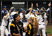 (Mara Lavitt &mdash; New Haven Register) <br /> June 14, 2014 West Haven<br /> CIAC Class LL softball championship between Southington and Amity. Southington won in the 15th inning with the only run of the game -- a home-run by Rachel Dube. Amity's catcher Janaya Young and pitcher Katie Koshes after their loss.<br /> mlavitt@newhavenregister.com