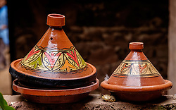Tagine pots in the kitchen of a traditional Berber house in the Ourika Valley, Morocco, North Africa.<br /> <br /> (c) Andrew Wilson | Edinburgh Elite media