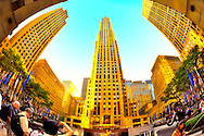 Rockefeller Center Plaza in Vintage Color, with Promenade Buildings, Fish Eye View, Manhattan, NYC, New York, USA, early dusk on June 27, 2011.