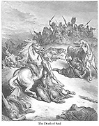 Death of Saul From the book 'Bible Gallery' Illustrated by Gustave Dore with Memoir of Dore and Descriptive Letter-press by Talbot W. Chambers D.D. Published by Cassell & Company Limited in London and simultaneously by Mame in Tours, France in 1866