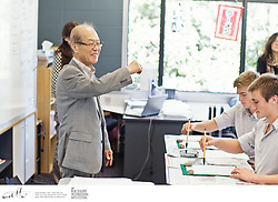 Wellington College students get a masterclass with Japanese calligraphy master Tosui Suzuki from the TeZuKa company.