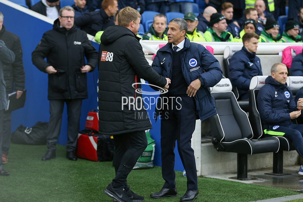 AFC Bournemouth manager Eddie Howe greets Brighton and Hove Albion manager Chris Hughton during the Premier League match between Brighton and Hove Albion and Bournemouth at the American Express Community Stadium, Brighton and Hove, England on 1 January 2018. Photo by Phil Duncan.
