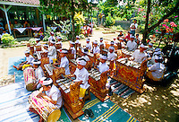 Children's gamelan orchestra at school cultural performance; Peliatan; Bali, Indonesia