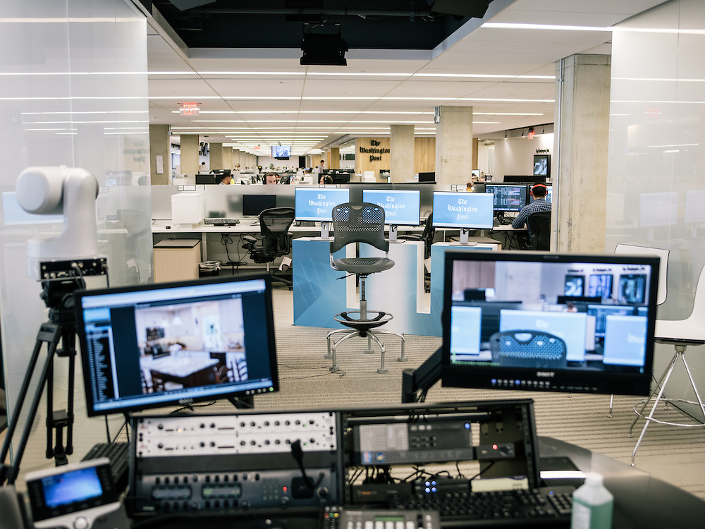Live television setup, one of two, at the Washington Post's new offices in Washington, D.C. on Sept. 12, 2016.