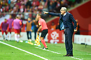 Warsaw, Poland - 2017 September 04: Trainer coach Adam Nawalka of Poland gestures during soccer match Poland v Kazakhstan - FIFA 2018 World Cup Qualifier at PGE National Stadium on September 04, 2017 in Warsaw, Poland.<br /> <br /> Adam Nurkiewicz declares that he has no rights to the image of people at the photographs of his authorship.<br /> <br /> Picture also available in RAW (NEF) or TIFF format on special request.<br /> <br /> Any editorial, commercial or promotional use requires written permission from the author of image.<br /> <br /> Mandatory credit:<br /> Photo by © Adam Nurkiewicz / Mediasport