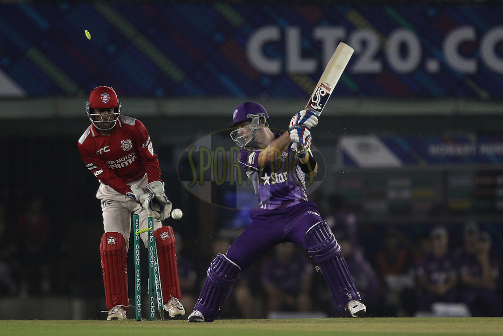 Tim PAINE (Captain) of the Hobart Hurricanes is bowled by Akshar PATEL of the Kings XI Punjab  during match 2 of the Oppo Champions League Twenty20 between the Kings XI Punjab and the Hobart Hurricanes held at the Punjab Cricket Association Stadium, Mohali, India on the 18th September 2014<br /> <br /> Photo by:  Ron Gaunt / Sportzpics/ CLT20<br /> <br /> <br /> Image use is subject to the terms and conditions as laid out by the BCCI/ CLT20.  The terms and conditions can be downloaded here:<br /> <br /> http://sportzpics.photoshelter.com/gallery/CLT20-Image-Terms-and-Conditions-2014/G0000IfNJn535VPU/C0000QhhKadWcjYs
