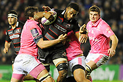 Viliame Mata under pressure during the European Rugby Challenge Cup match between Edinburgh Rugby and Stade Francais at Murrayfield Stadium, Edinburgh, Scotland on 12 January 2018. Photo by Kevin Murray.
