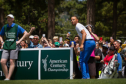 July 15, 2018 - Stateline, Nevada, U.S - Golden State Warriors All-Star guard, STEPHEN CURRY, reacts to a miss basket on the 17th hole during the 29th annual American Century Championship at the Edgewood Tahoe Golf Course in Stateline, Nevada, on Sunday, July 15, 2018. Many competitors take advantage of the basketball hoop set up near the 17th tee. (Credit Image: © Tracy Barbutes via ZUMA Wire)