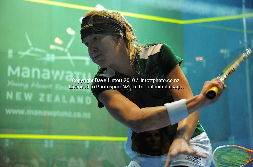 Kasey Brown (AUS) during the final match. Women's World Squash Teams final at International Pacific College Rec Centre, Palmerston North, New Zealand on Saturday, 4 December 2010. Photo: Dave Lintott / photosport.co.nz