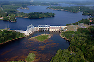 Lake Wylie Dam on the Catawba River, South Carolina.  Duke Energy hydro dam.  A Tailrace is popular for fishing and kayaking