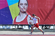 SO Poland athlete Aneta Patoka competes at athletics relay 4 x 100 meters during eighth day of the Special Olympics World Games Los Angeles 2015 on August 1, 2015 at Loker Stadium on USC (University of Southern California) in Los Angeles, USA.<br /> USA, Los Angeles, August 1, 2015<br /> <br /> Picture also available in RAW (NEF) or TIFF format on special request.<br /> <br /> For editorial use only. Any commercial or promotional use requires permission.<br /> <br /> Adam Nurkiewicz declares that he has no rights to the image of people at the photographs of his authorship.<br /> <br /> Mandatory credit:<br /> Photo by © Adam Nurkiewicz / Mediasport