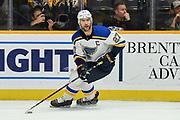 Saint Louis Blues Defenseman Alex Pietrangelo (27) skates with the puck during a NHL hockey game between the Saint Louis Blues and Nashville Predators at Bridgestone Arena Sunday, Dec 13, 2016 in Nashville, Tenn