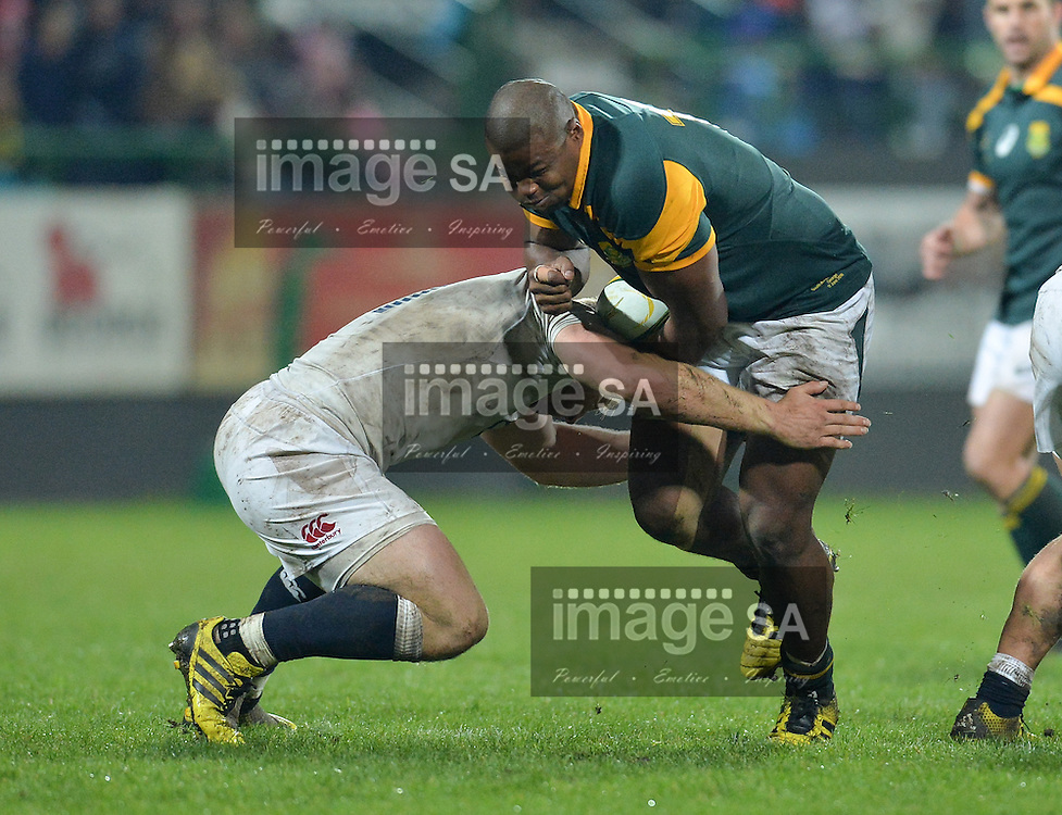 GEORGE, SOUTH AFRICA - JUNE 17: Lizo Gqoboka of South Africa during the match between South Africa 'A' and England Saxons at Outeniqua Park on June 17 2016 in George, South Africa. (Photo by Roger Sedres/Gallo Images)