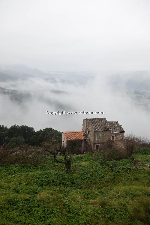 Corsica. France. Sartene, perched village on a montain , general view - France   / Sartene , village perché sur la montagne vue generale  Corse du sud - France