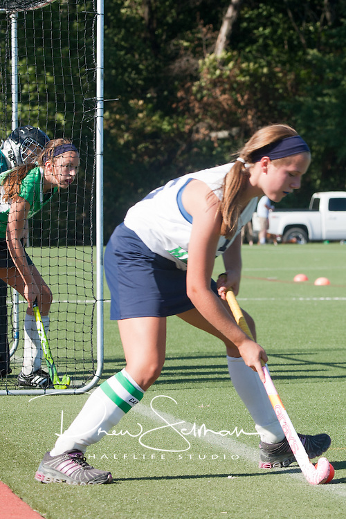 6 SEP 2010 -- FENTON, Mo. -- Marquette High School field hockey freshman captain, Katlyn Roth (15)  takes a corner ball against Nerinx Hall Academy Green during the Gateway Field Hockey Labor Day Tournament at the A-B Center in Fenton, Mo., Monday Sept. 6, 2010.  The match ended tied 2-2.