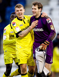 COLCHESTER, ENGLAND - Saturday, February 23, 2013: Tranmere Rovers' Max Power and goalkeeper Owain Fon Williams celebrate their side's 5-1 win over Colchester United after the Football League One match at the Colchester Community Stadium. (Pic by Vegard Grott/Propaganda)