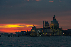 Santa Maria della Salute, commonly known simply as the Salute, at sunset in Venice. From a series of travel photos in Italy. Photo date: Monday, February 11, 2019. Photo credit should read: Richard Gray/EMPICS Entertainment