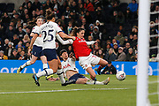 Ashleigh Neville tackles Danielle Van De Donk during the FA Women's Super League match between Tottenham Hotspur Women and Arsenal Women FC at Tottenham Hotspur Stadium, London, United Kingdom on 17 November 2019.