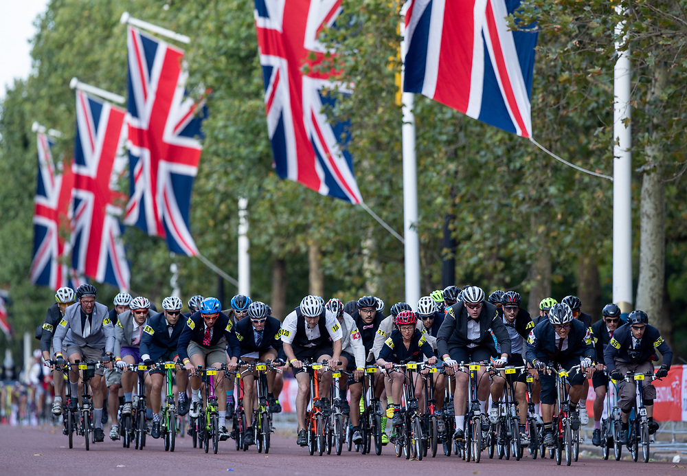 Competitors race in the early stages of The Brompton World Championship. Saturday 28th July 2018<br /> <br /> Photo: Jed Leicester for Prudential RideLondon<br /> <br /> Prudential RideLondon is the world's greatest festival of cycling, involving 100,000+ cyclists - from Olympic champions to a free family fun ride - riding in events over closed roads in London and Surrey over the weekend of 28th and 29th July 2018<br /> <br /> See www.PrudentialRideLondon.co.uk for more.<br /> <br /> For further information: media@londonmarathonevents.co.uk