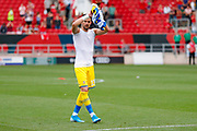 Leeds United goalkeeper Francisco Casilla (13) applauds the fans after the victory in the EFL Sky Bet Championship match between Bristol City and Leeds United at Ashton Gate, Bristol, England on 4 August 2019.