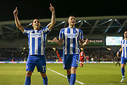 Brighton & Hove Albion winger Anthony Knockaert (11) and Brighton & Hove Albion centre forward Tomer Hemed (10) celebrates his goal 2-0 during the EFL Sky Bet Championship match between Brighton and Hove Albion and Birmingham City at the American Express Community Stadium, Brighton and Hove, England on 4 April 2017. Photo by Phil Duncan.