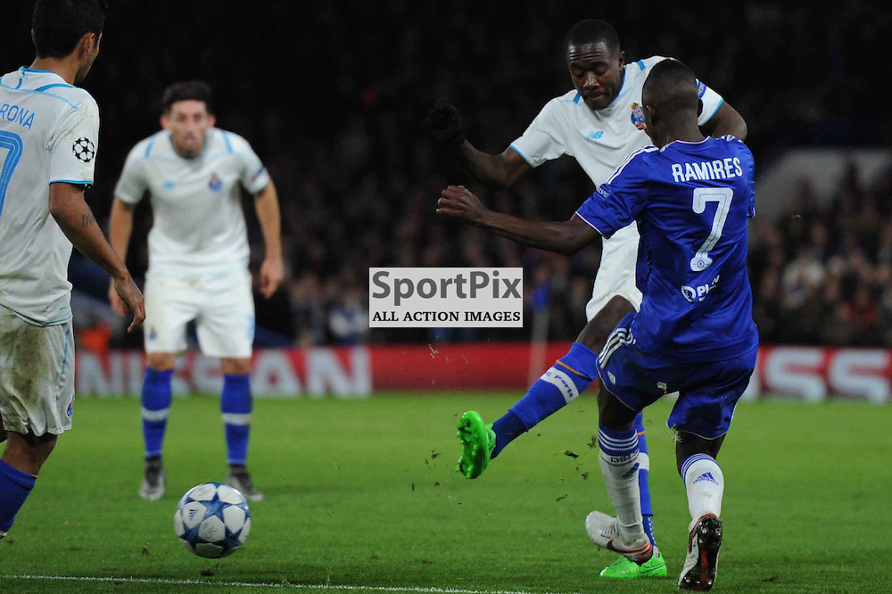 FC Portos Vincent Aboubakar gets a shot away during the Chelsea v FC Porto Champions League match in the group stage on the 9th December 2015.