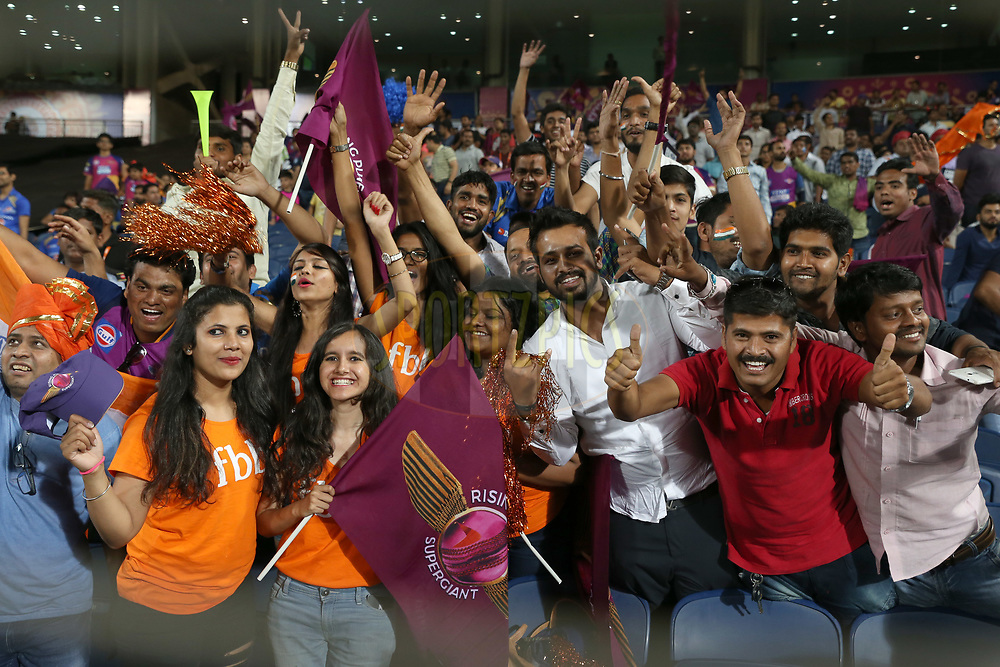Cricket entusiastas during match 2 of the Vivo 2017 Indian Premier League between the Rising Pune Supergiants and the Mumbai Indians held at the MCA Pune International Cricket Stadium in Pune, India on the 6th April 2017<br /> <br /> Photo by Faheem Hussain - IPL - Sportzpics