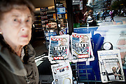 Oslo, Norway, 23.07.2011. Headlines in norwegian newspapers. Oslo awakes to shocking messages of the total bodycount after yesterdays massacre. A total of 91 persons were killed in the massacre in Utøya right outside Oslo. Seven of those died when a car bomb was detonated outside the main government biuilding in the heart of Oslo, friday 22. of July. Foto: Christopher Olssøn.