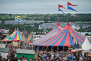 The view from the Park Field - The 2016 Glastonbury Festival, Worthy Farm, Glastonbury.