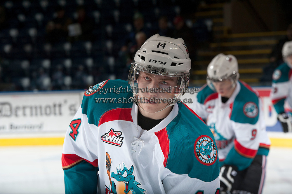 KELOWNA, CANADA - DECEMBER 27: Rourke Chartier #14 of the Kelowna Rockets skates during warm up against the Kamloops Blazers  on December 27, 2013 at Prospera Place in Kelowna, British Columbia, Canada.   (Photo by Marissa Baecker/Shoot the Breeze)  ***  Local Caption  ***