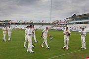 Chris Rushworth (Durham County Cricket Club)is applauded off the field at the end of Warwickshire's first innings after taking 5 wickets during the LV County Championship Div 1 match between Durham County Cricket Club and Warwickshire County Cricket Club at the Emirates Durham ICG Ground, Chester-le-Street, United Kingdom on 14 July 2015. Photo by George Ledger.