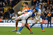 Wolverhampton Wanderers defender Danny Batth tackles Blackburn Rovers striker Chris Brown during the Sky Bet Championship match between Wolverhampton Wanderers and Blackburn Rovers at Molineux, Wolverhampton, England on 9 April 2016. Photo by Alan Franklin.