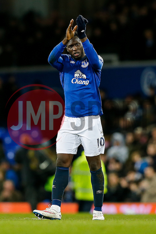 Romelu Lukaku of Everton thanks the home fans after the match ends in a 1-1 draw - Photo mandatory by-line: Rogan Thomson/JMP - 07966 386802 - 10/01/2015 - SPORT - FOOTBALL - Liverpool, England - Goodison Park - Everton v Manchester City - Barclays Premier League.